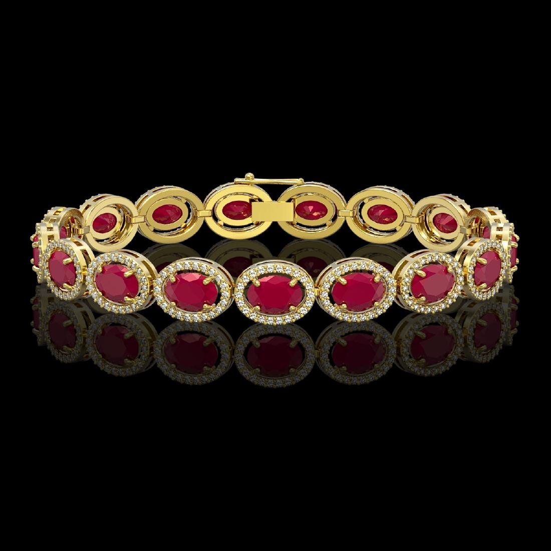 22.89 CTW Ruby & Diamond Halo Bracelet 10K Yellow Gold