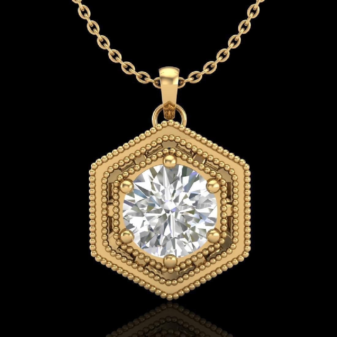 0.76 CTW VS/SI Diamond Solitaire Art Deco Necklace 18K