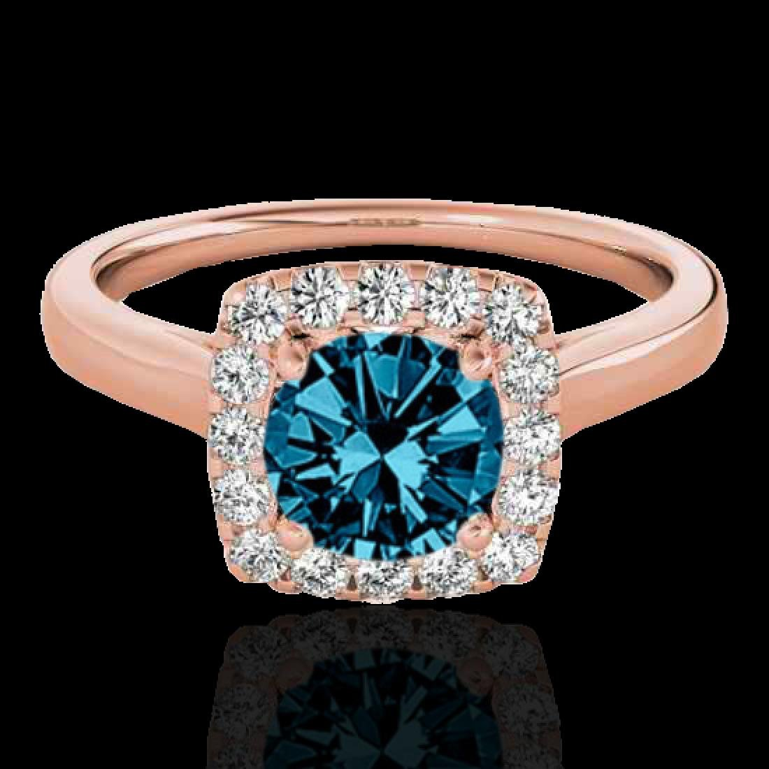 1.37 CTW SI Certified Fancy Blue Diamond Solitaire Halo