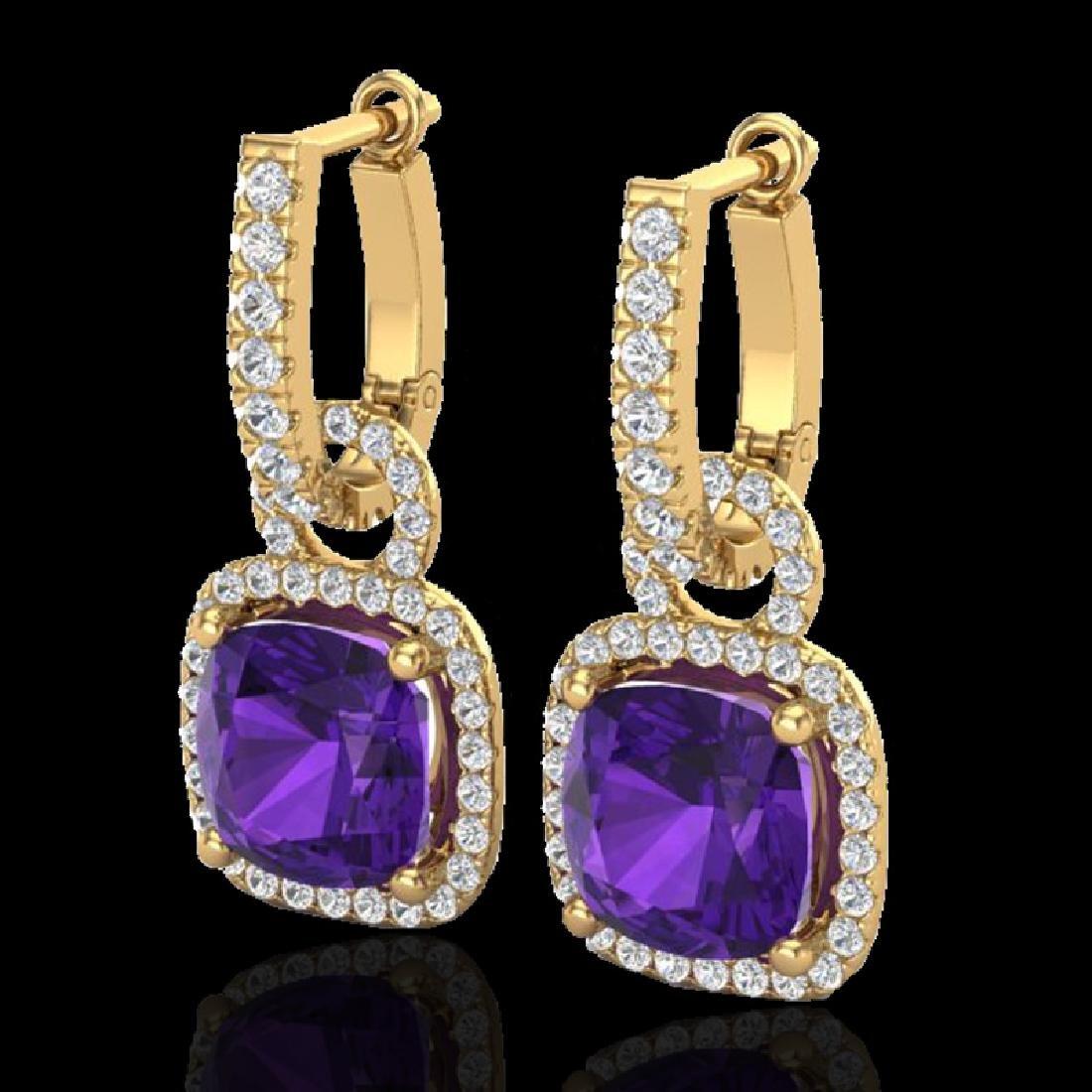 7 CTW Amethyst & Micro Pave VS/SI Diamond Earrings 18K