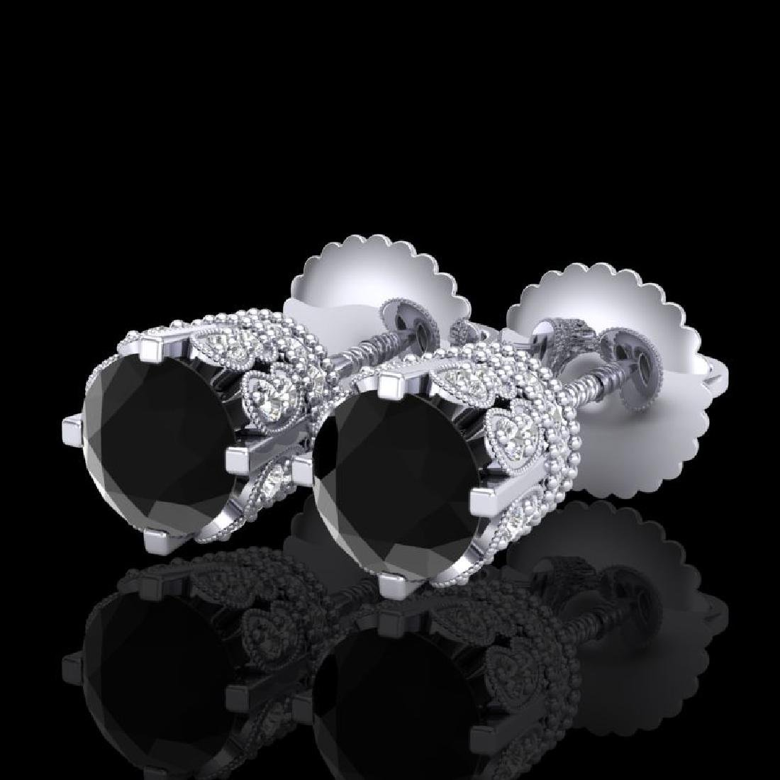 1.75 CTW Fancy Black Diamond Solitaire Art Deco Stud