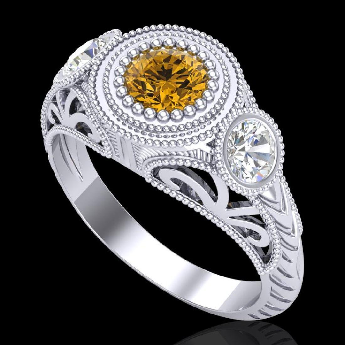 1.06 CTW Intense Fancy Yellow Diamond Art Deco 3 Stone