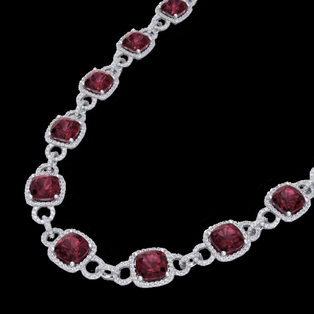 66 CTW Garnet & Micro VS/SI Diamond Eternity Necklace