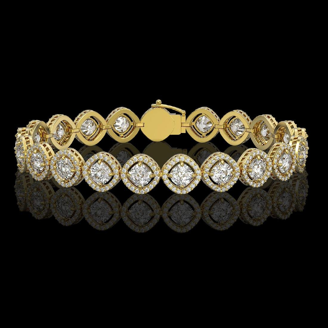 13.06 CTW Cushion Cut Diamond Designer Bracelet 18K