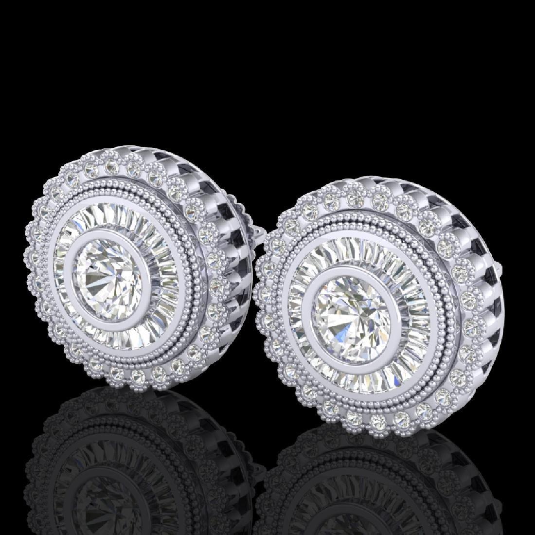 2.61 CTW VS/SI Diamond Solitaire Art Deco Stud Earrings