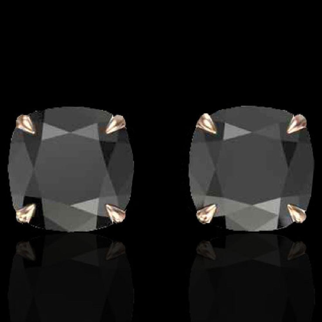 6 CTW Cushion Cut Black VS/SI Diamond Designer Stud