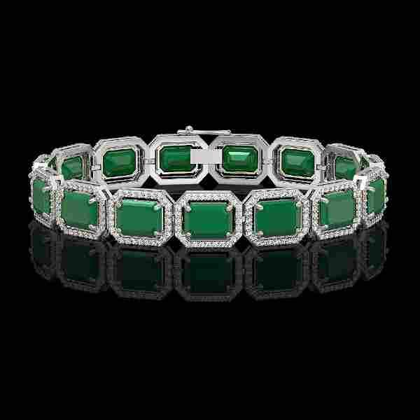 3861 CTW Emerald Diamond Halo Bracelet 10K White