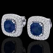 216 CTW Sapphire Micro VSSI Diamond Earrings Double