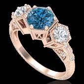 166 CTW Intense Blue Diamond Solitaire Art Deco 3
