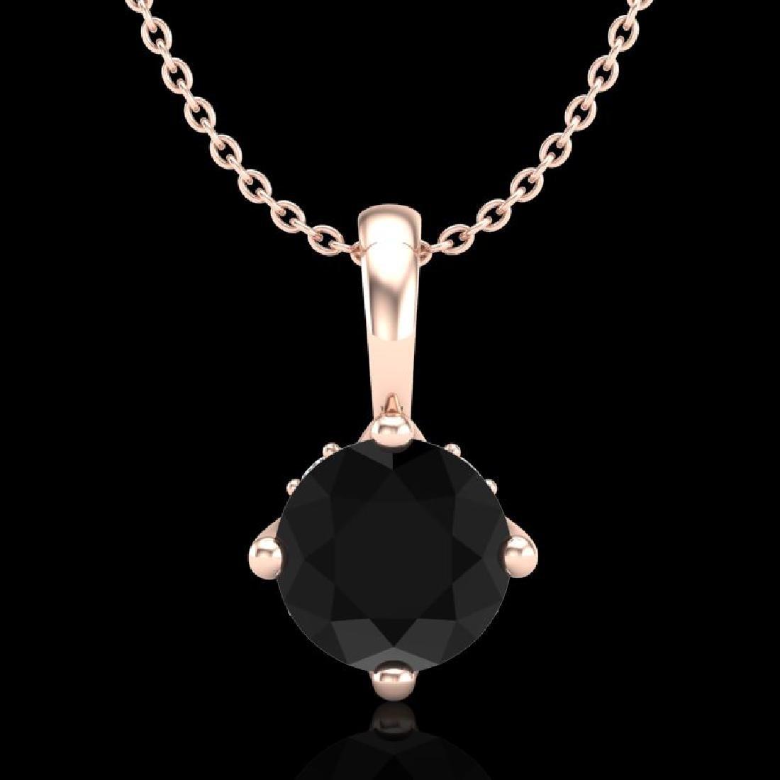 0.82 CTW Fancy Black Diamond Solitaire Art Deco Stud