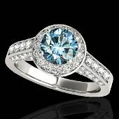 256 CTW SI Certified Fancy Blue Diamond Solitaire Halo