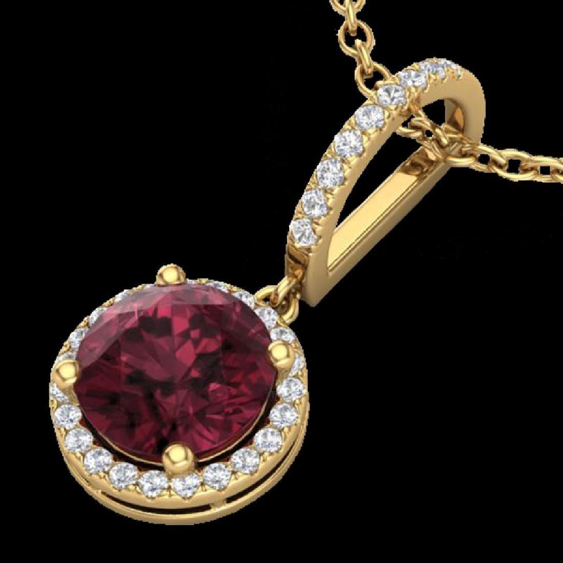 2.75 CTW Garnet & Micro Pave VS/SI Diamond Necklace