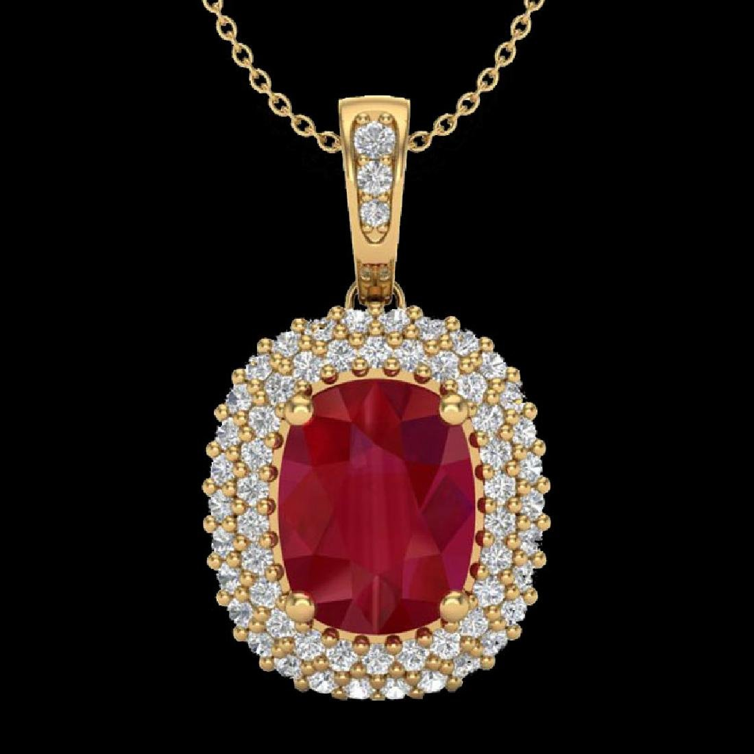 3.15 CTW Ruby & Micro Pave VS/SI Diamond Halo Necklace