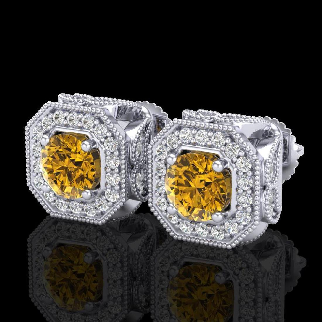 2.75 CTW Intense Fancy Yellow Diamond Art Deco Stud