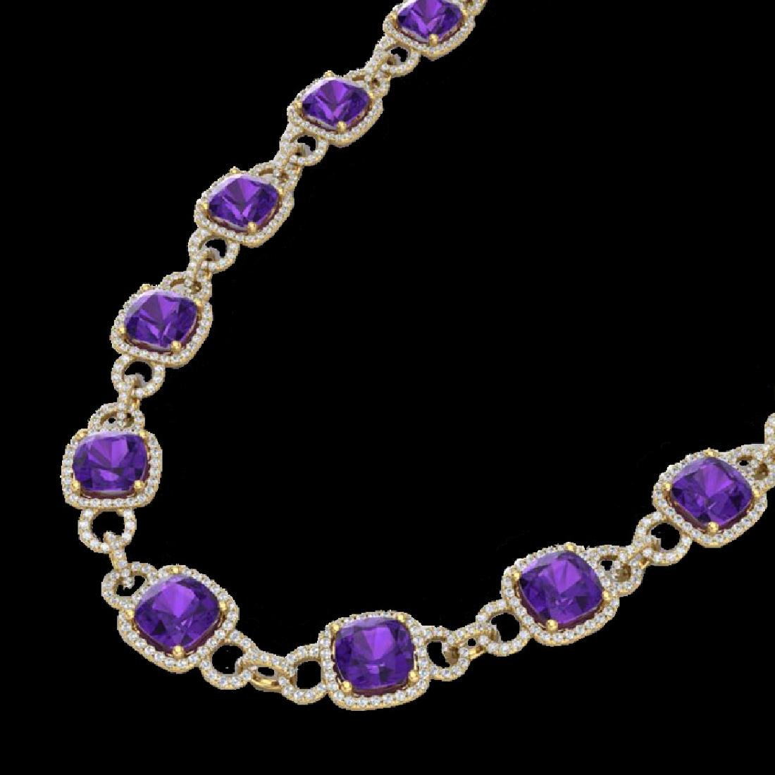 66 CTW Amethyst & Micro VS/SI Diamond Eternity Necklace