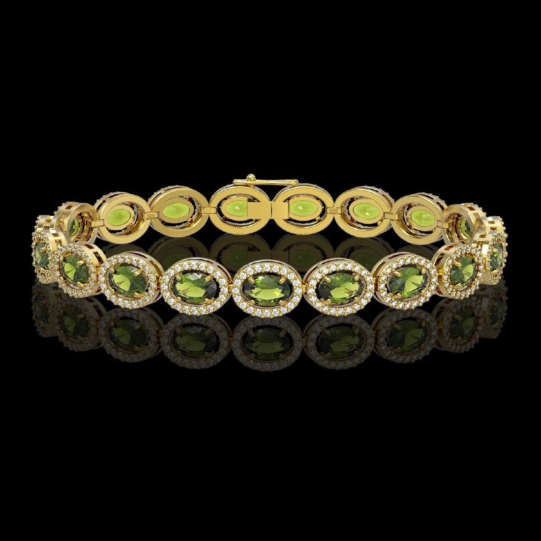 13.87 CTW Tourmaline & Diamond Halo Bracelet 10K Yellow