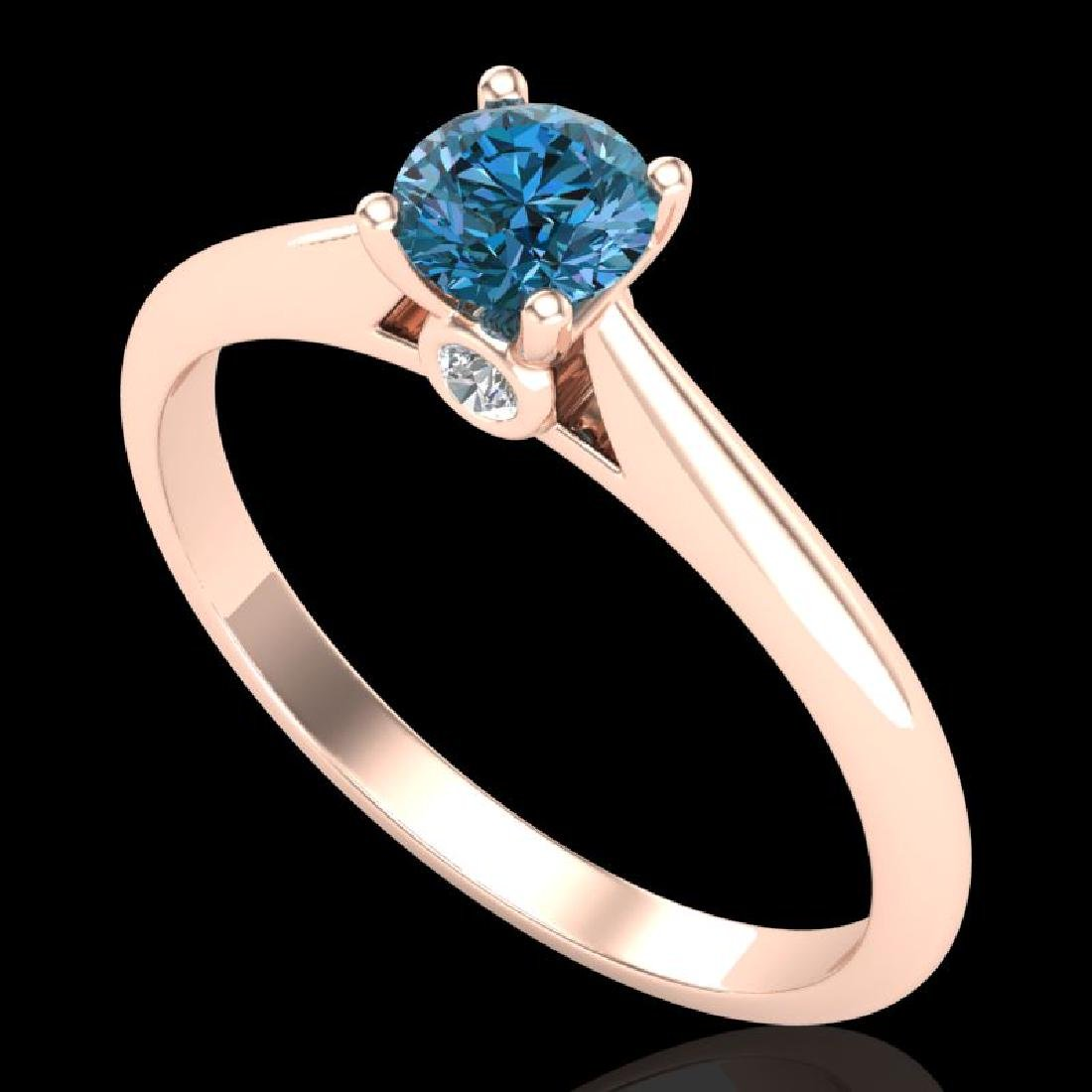 0.4 CTW Intense Blue Diamond Solitaire Engagement Art