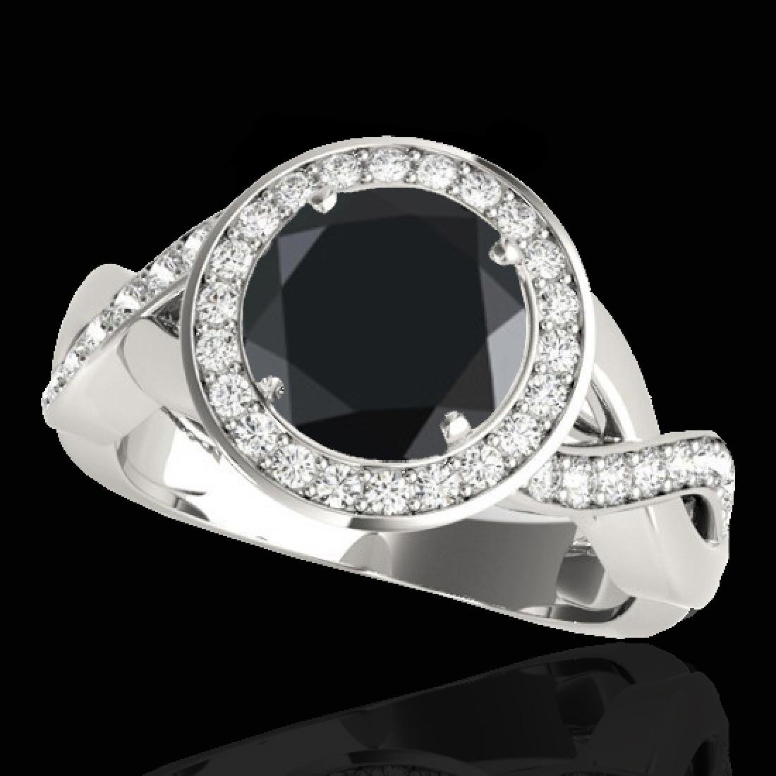 1.75 CTW Certified VS Black Diamond Solitaire Halo Ring