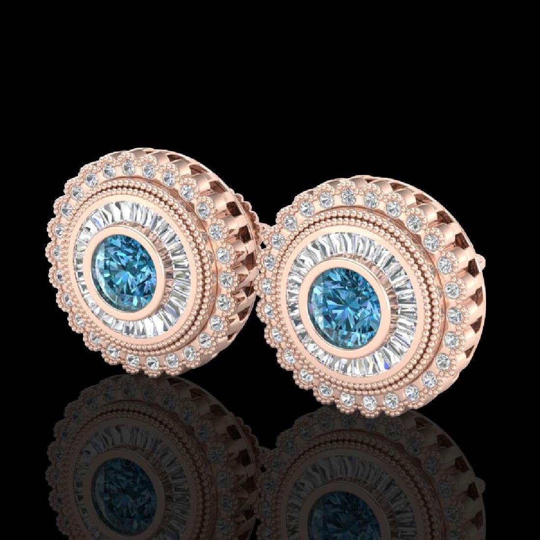 2.61 CTW Fancy Intense Blue Diamond Art Deco Stud