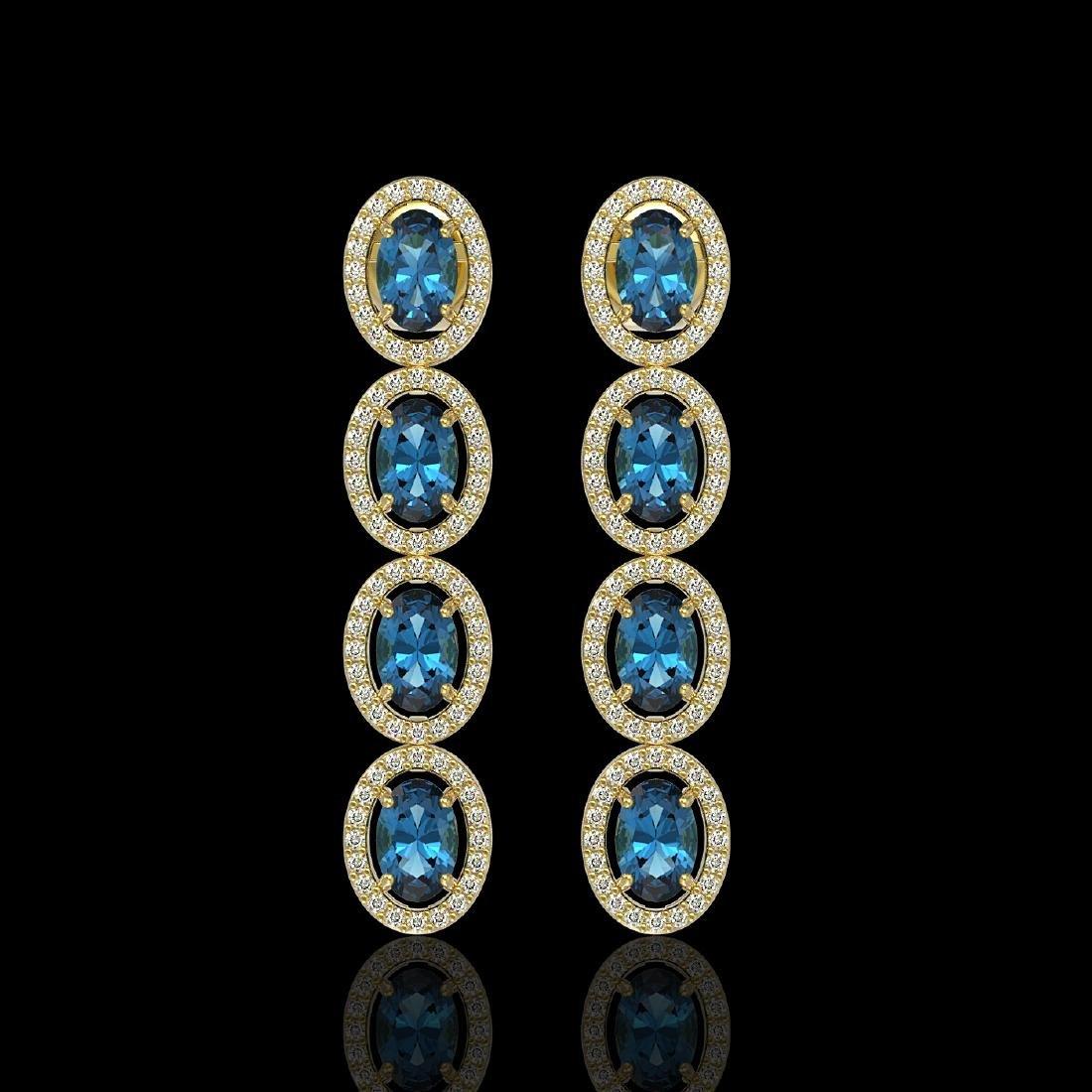 6.28 CTW London Topaz & Diamond Halo Earrings 10K