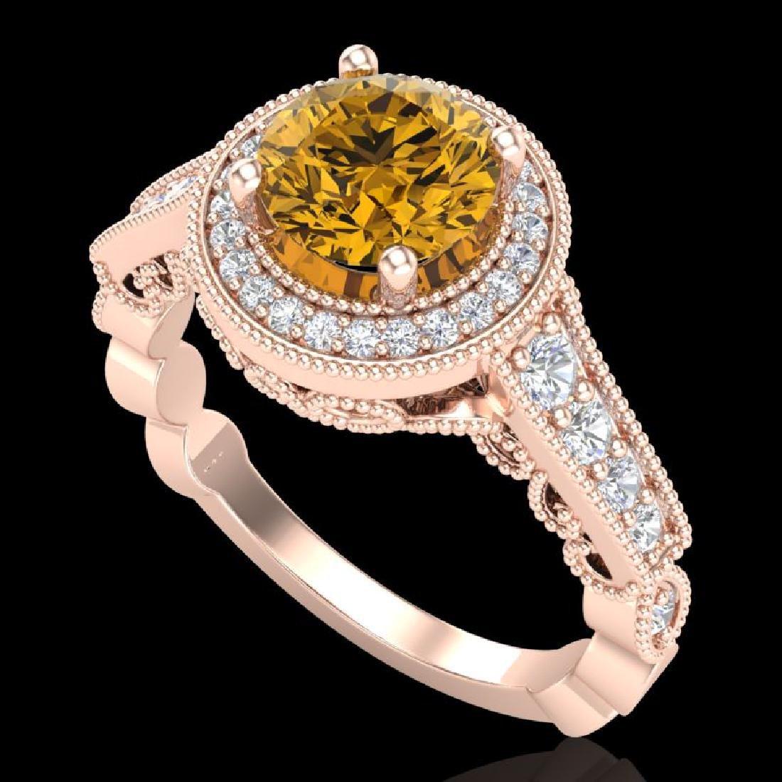 1.91 CTW Intense Fancy Yellow Diamond Engagement Art