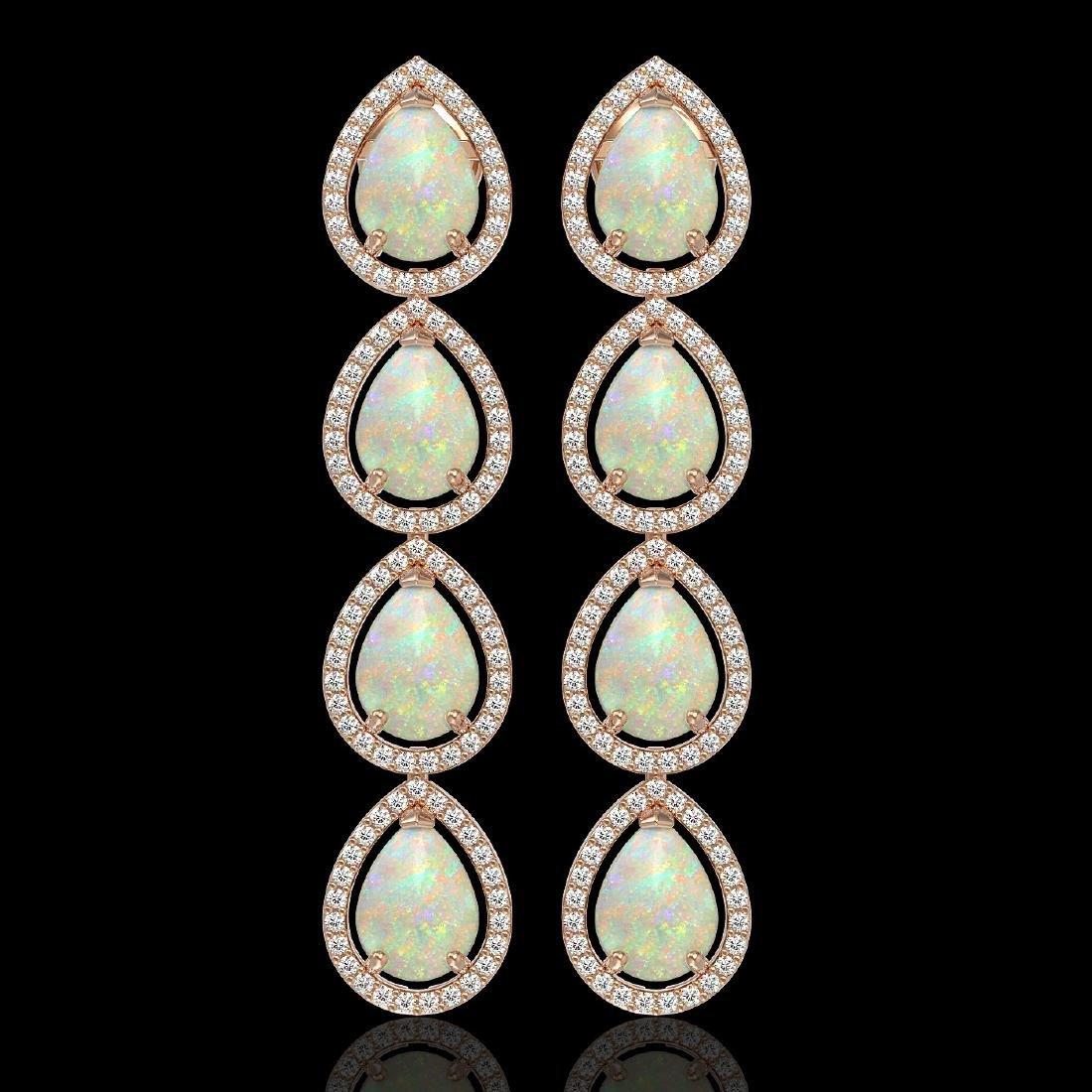 9.12 CTW Opal & Diamond Halo Earrings 10K Rose Gold