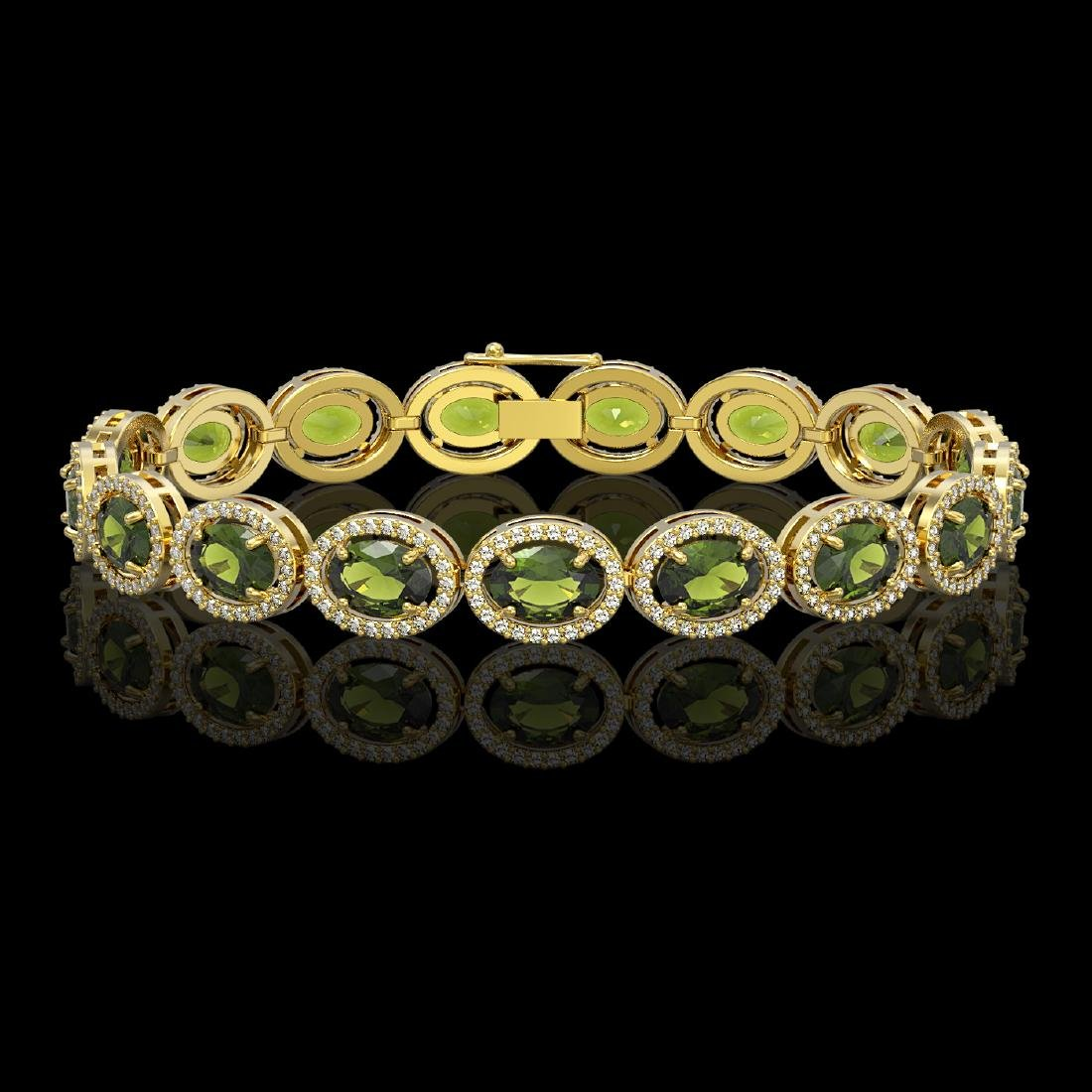 21.71 CTW Tourmaline & Diamond Halo Bracelet 10K Yellow