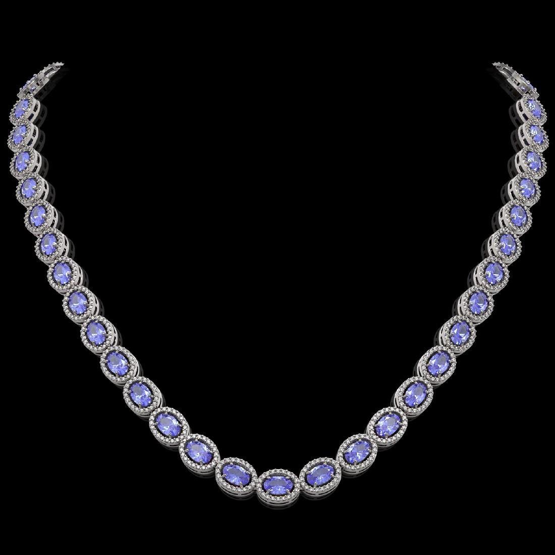 31.96 CTW Tanzanite & Diamond Halo Necklace 10K White