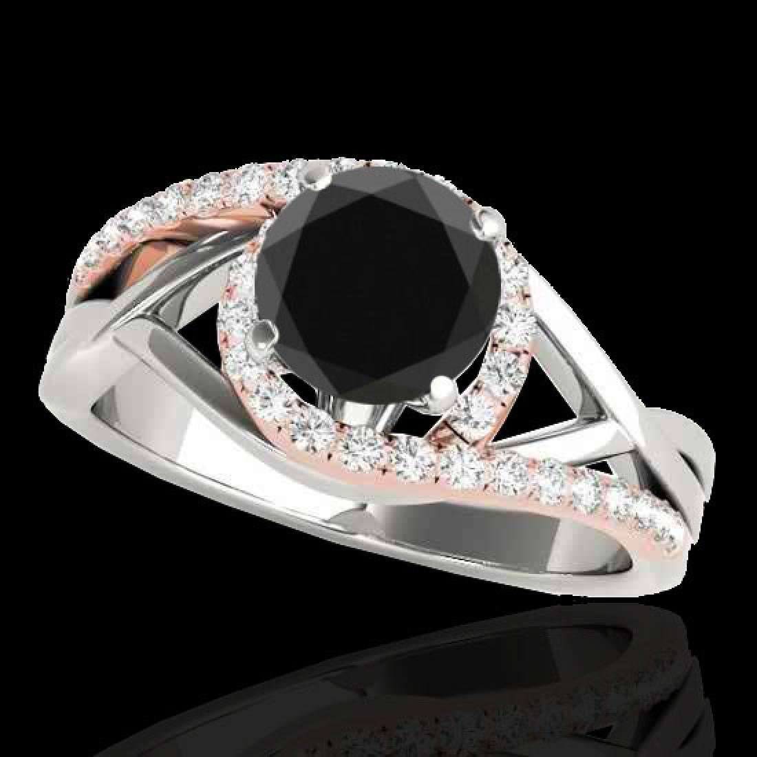 1.55 CTW Certified VS Black Diamond Bypass Solitaire
