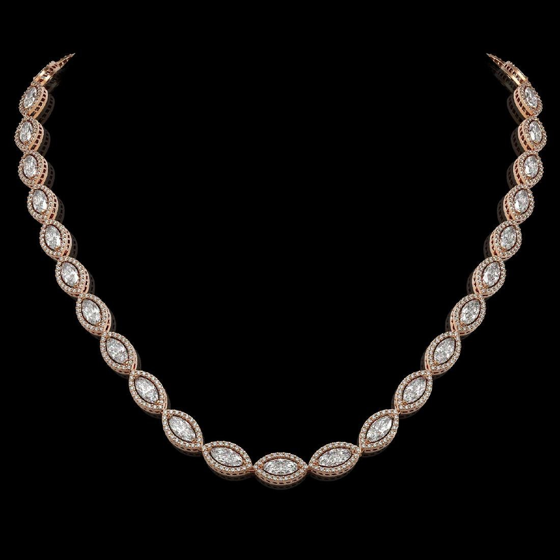 24.42 CTW Marquise Diamond Designer Necklace 18K Rose
