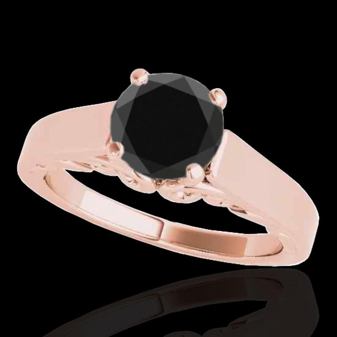 1 CTW Certified VS Black Diamond Solitaire Ring 10K