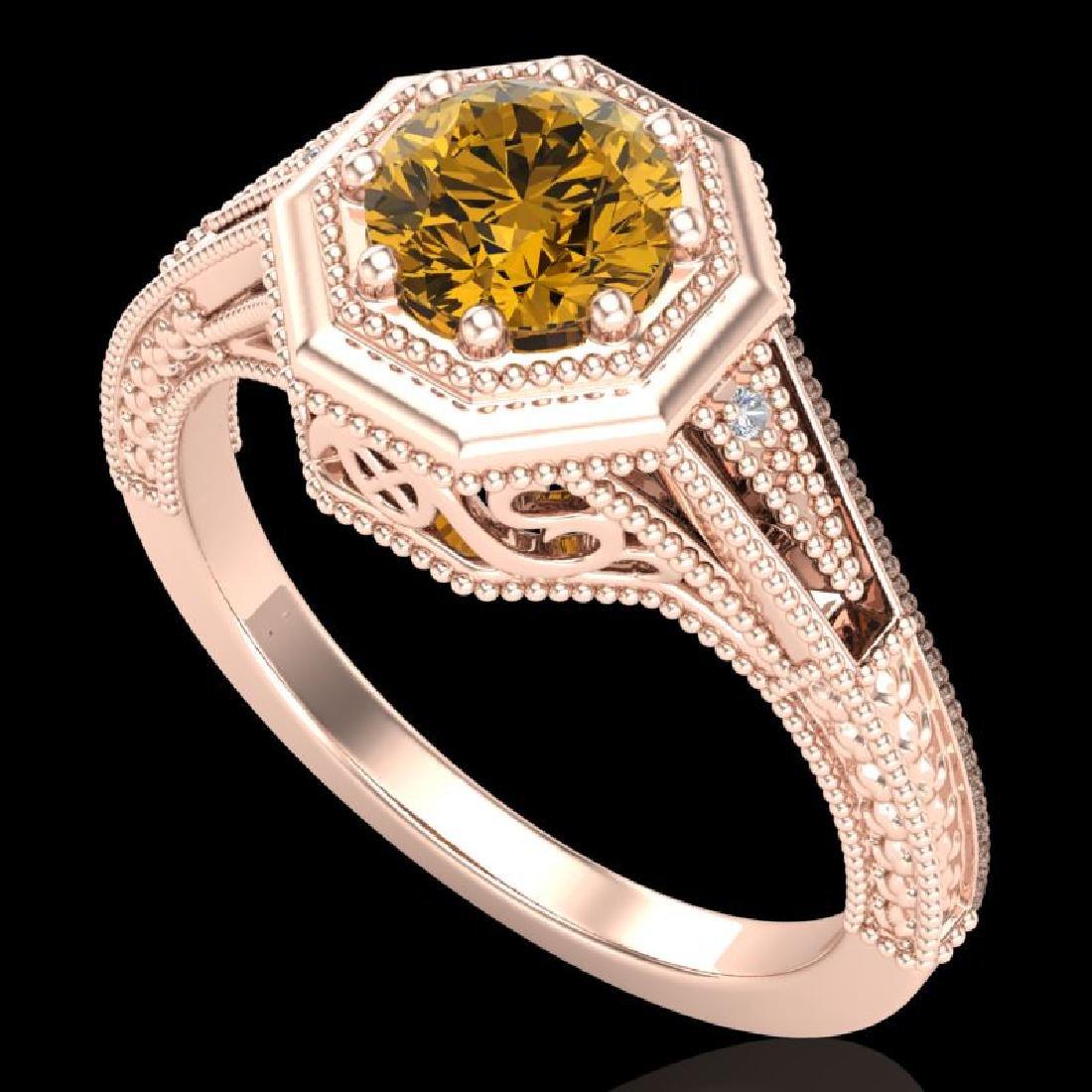 0.84 CTW Intense Fancy Yellow Diamond Engagement Art