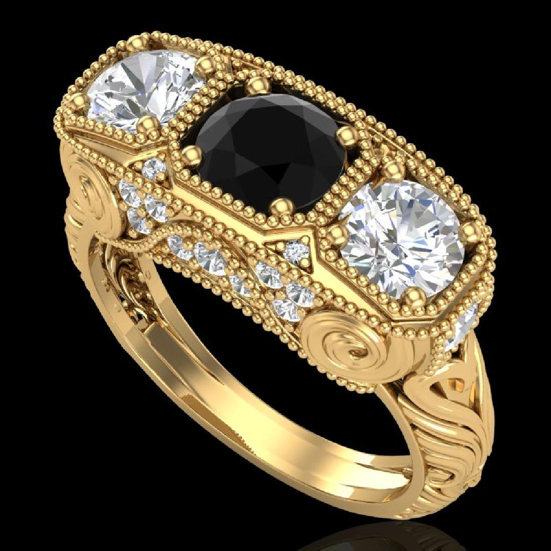 2.51 CTW Fancy Black Diamond Solitaire Art Deco 3 Stone