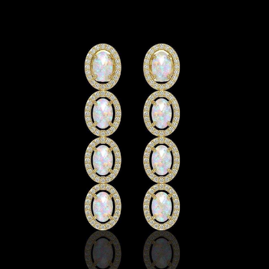 4.05 CTW Opal & Diamond Halo Earrings 10K Yellow Gold