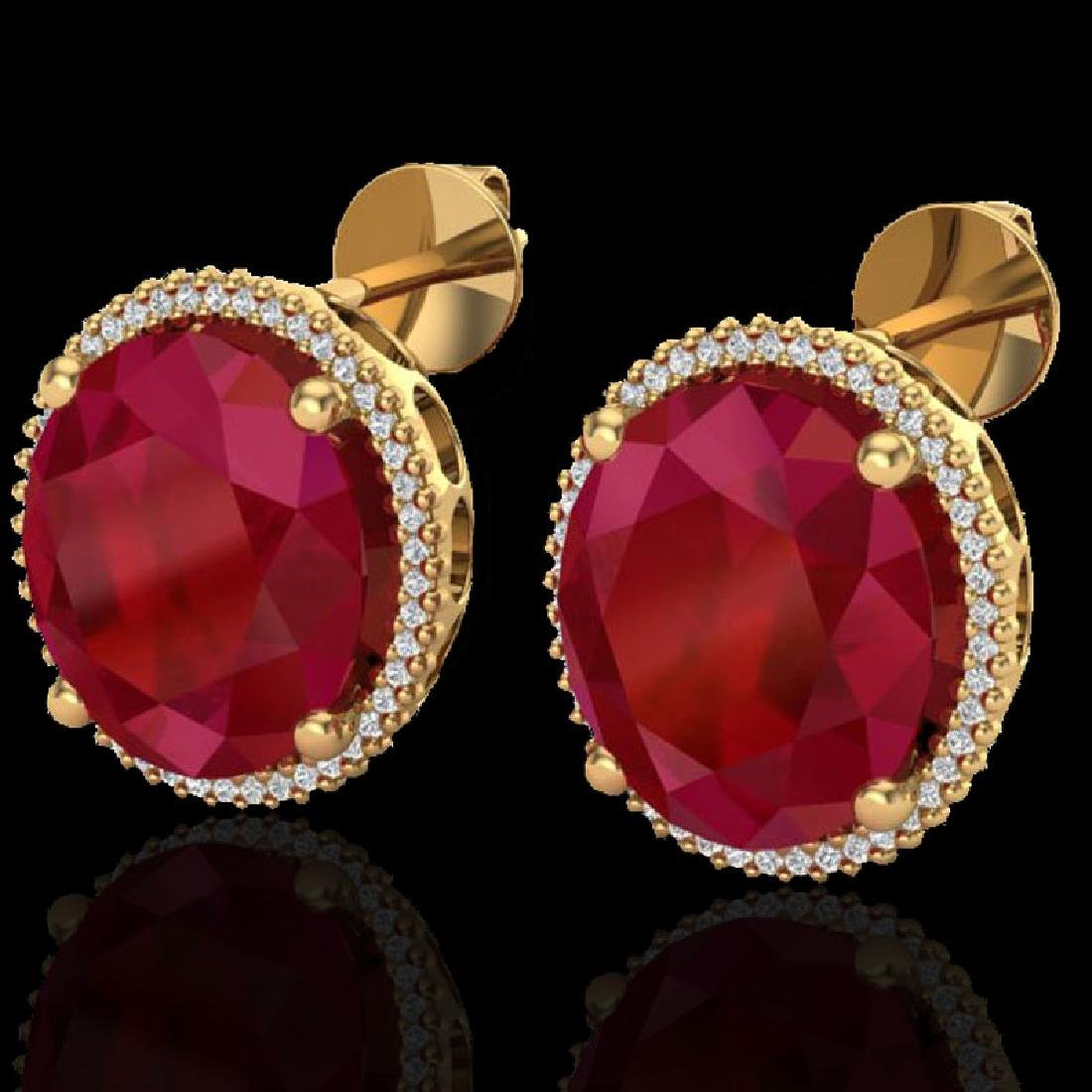 25 CTW Ruby & Micro Pave VS/SI Diamond Halo Earrings