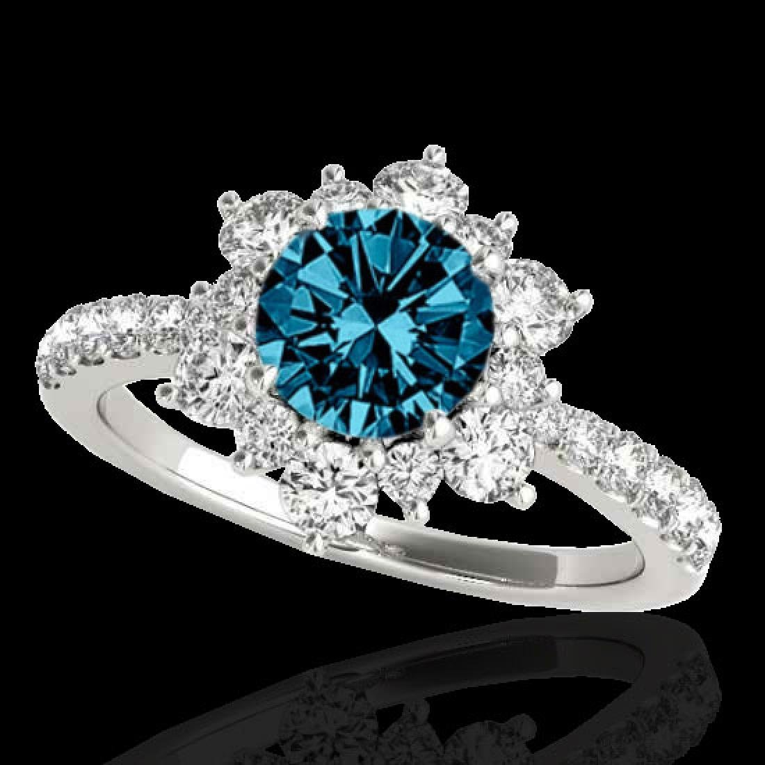 2.19 CTW SI Certified Fancy Blue Diamond Solitaire Halo