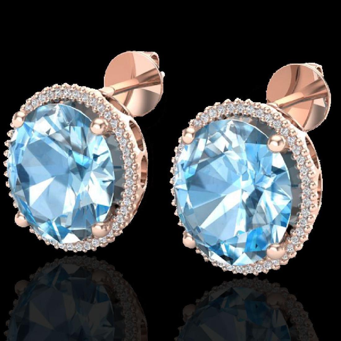 25 CTW Sky Blue Topaz & Micro VS/SI Diamond Halo