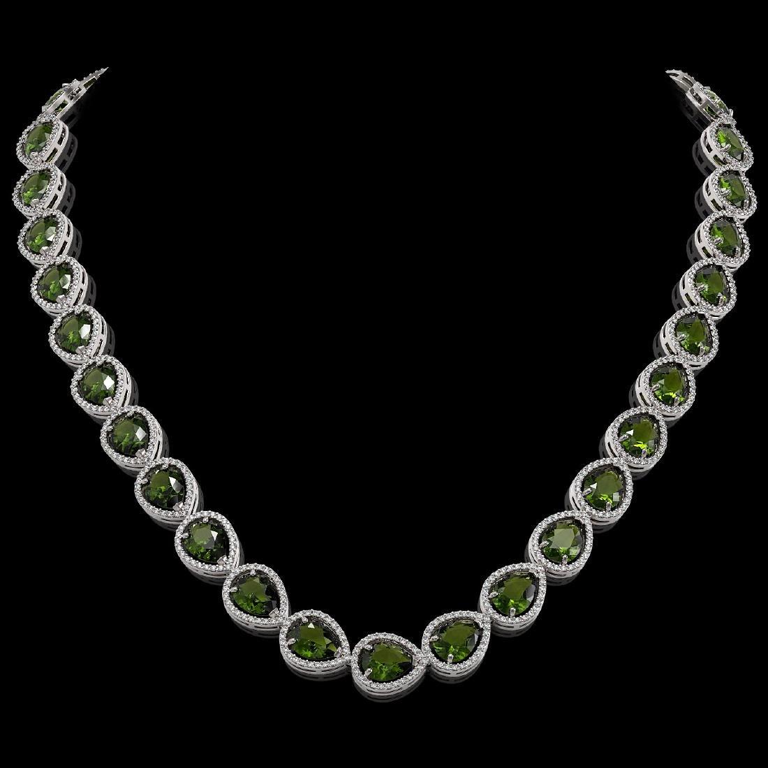 41.6 CTW Tourmaline & Diamond Halo Necklace 10K White