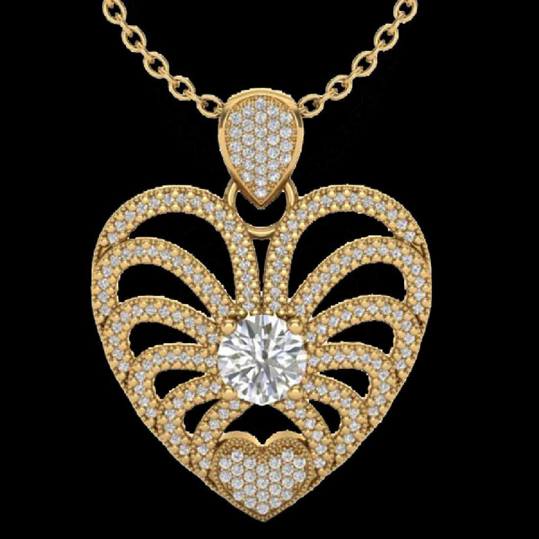 3 CTW Micro Pave VS/SI Diamond Heart Necklace 14K