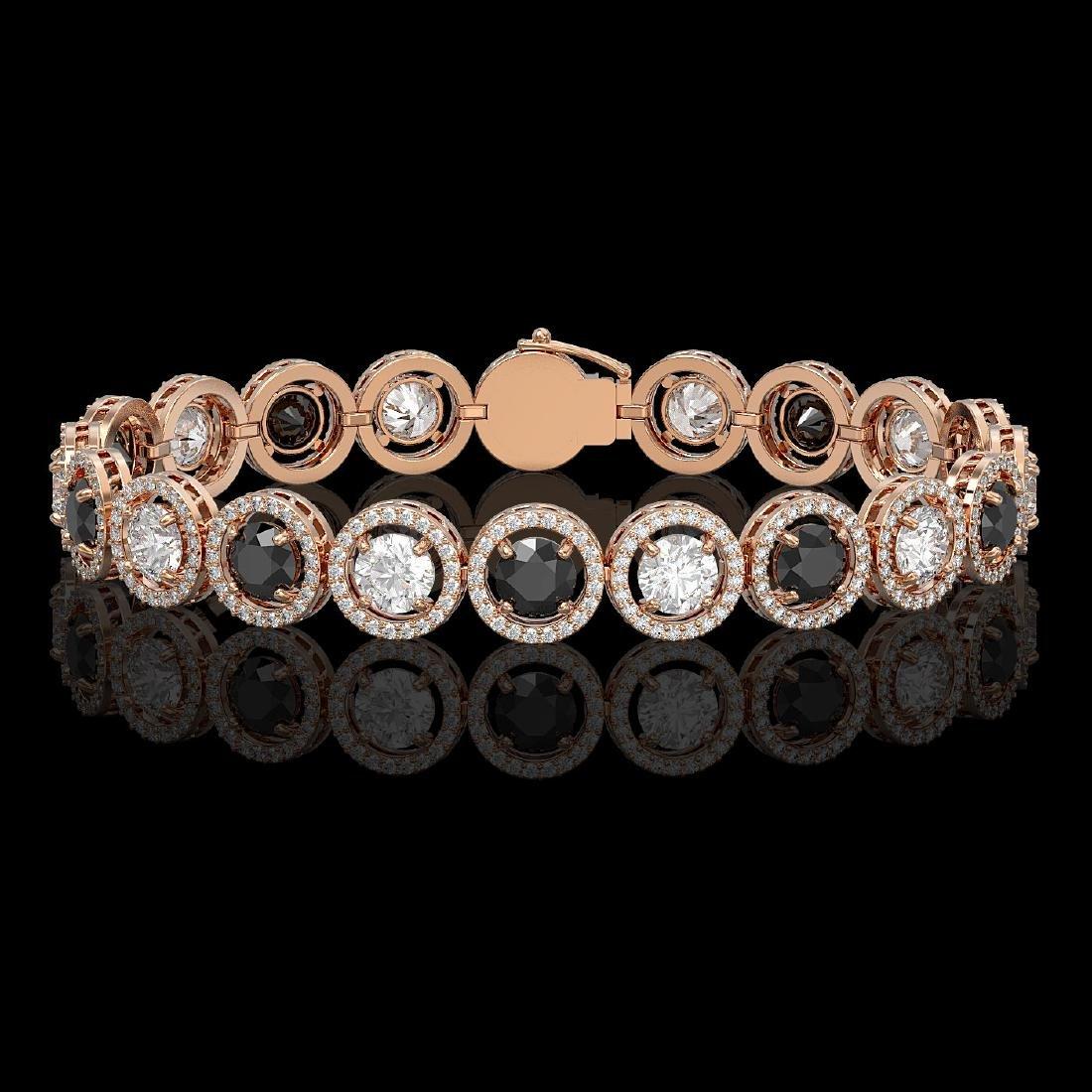 13.96 CTW Black & White Diamond Designer Bracelet 18K