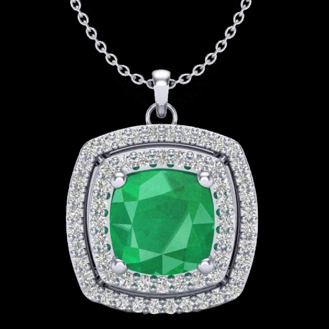 2.52 CTW Emerald & Micro Pave VS/SI Diamond Halo