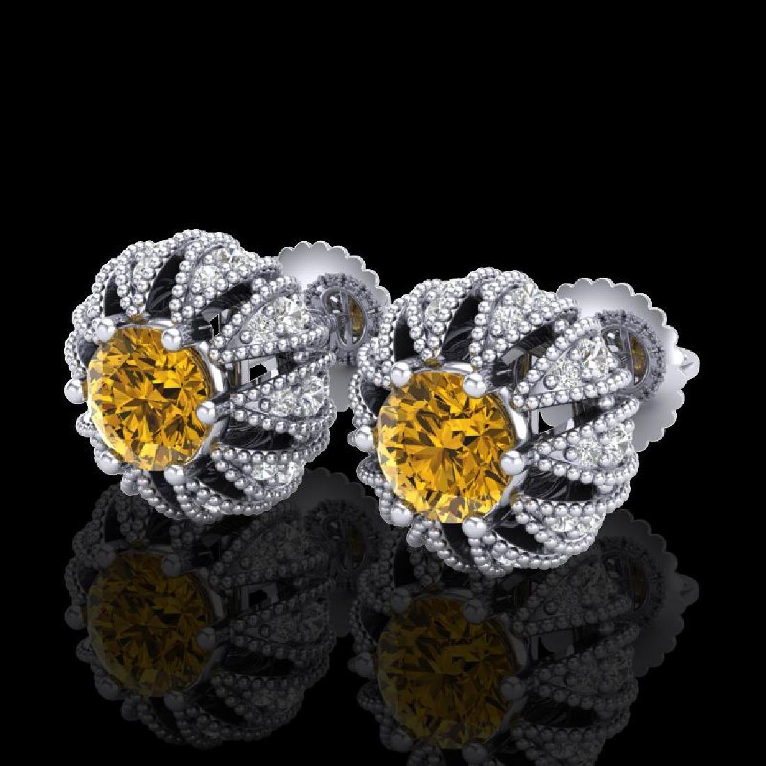 2.01 CTW Intense Fancy Yellow Diamond Art Deco Stud