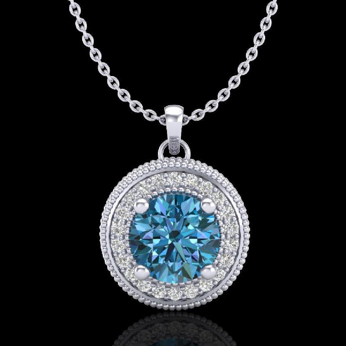 1.25 CTW Fancy Intense Blue Diamond Solitaire Art Deco