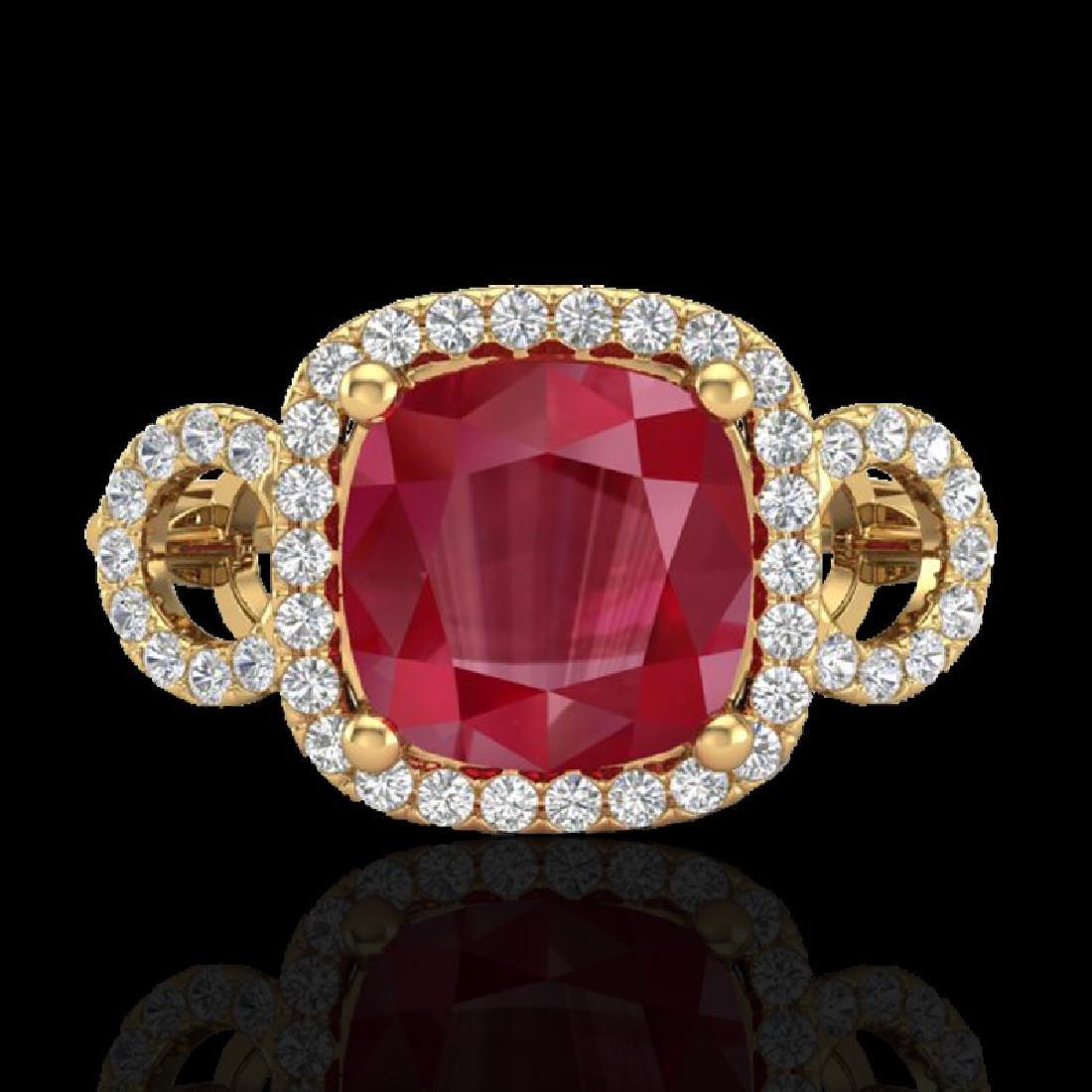 3.15 CTW Ruby & Micro VS/SI Diamond Ring 18K Yellow