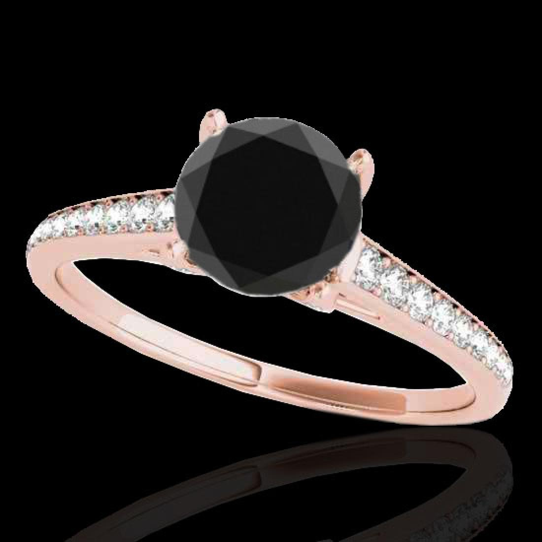 2 CTW Certified VS Black Diamond Solitaire Ring 10K