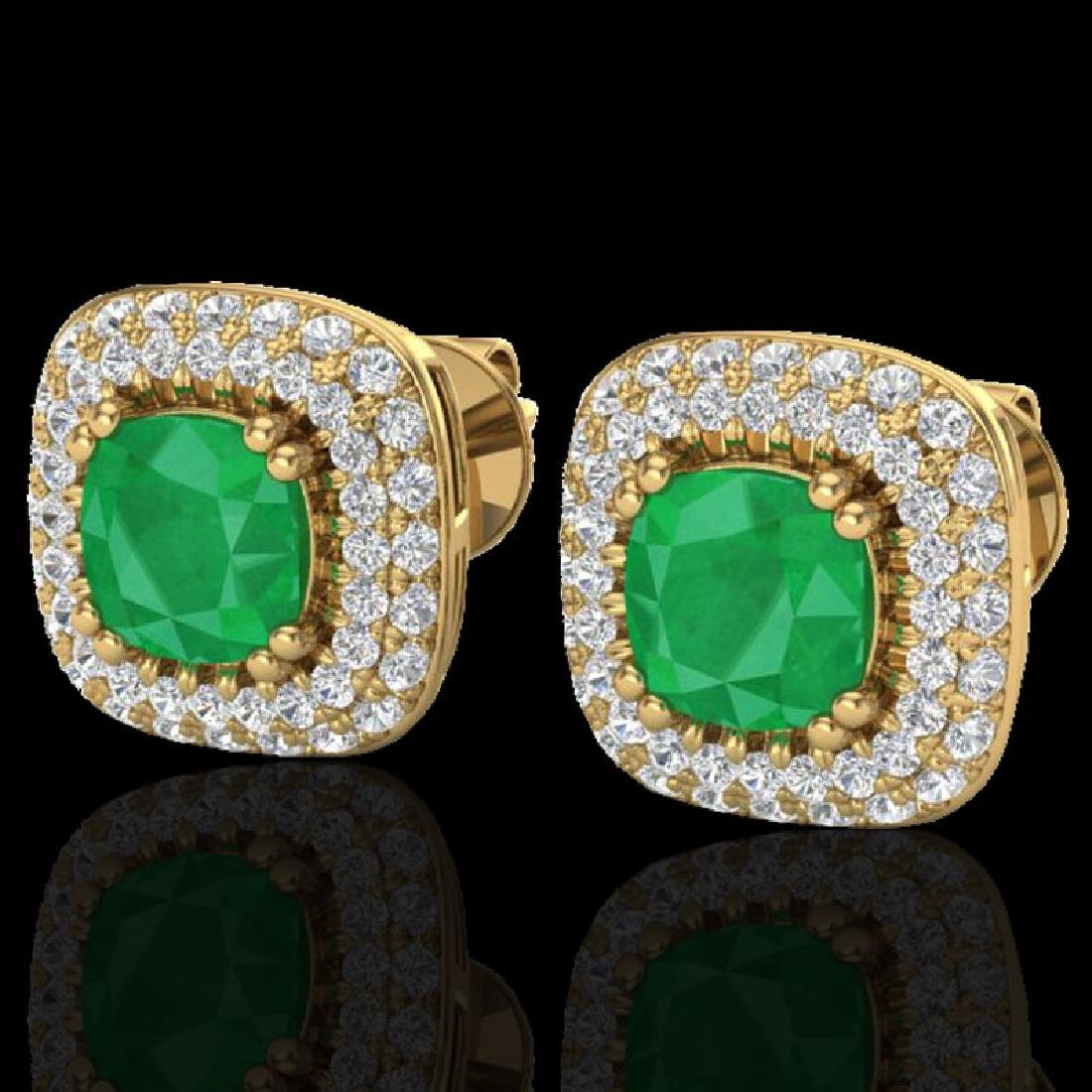 2.16 CTW Emerald & Micro VS/SI Diamond Earrings Double