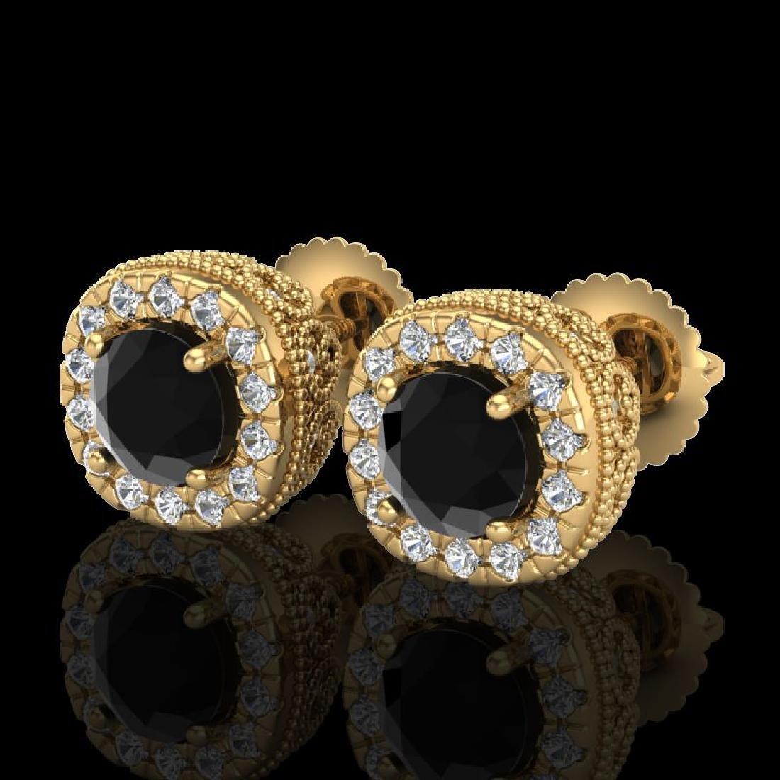 1.69 CTW Fancy Black Diamond Solitaire Art Deco Stud