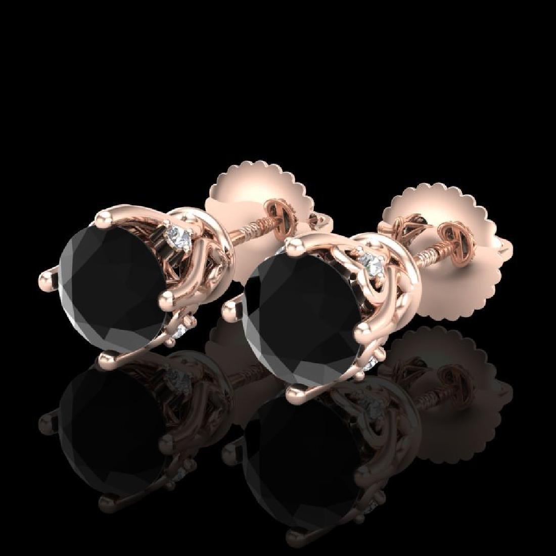 1.26 CTW Fancy Black Diamond Solitaire Art Deco Stud