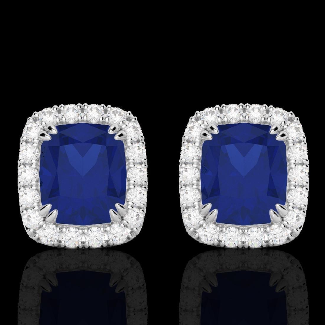 2.50 CTW Sapphire & Micro Pave VS/SI Diamond Halo