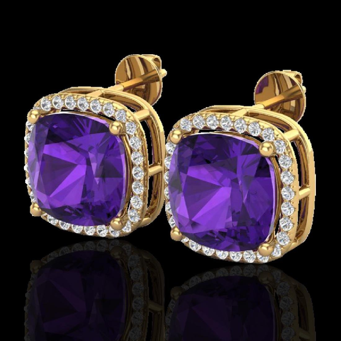 12 CTW Amethyst & Micro Pave Halo VS/SI Diamond